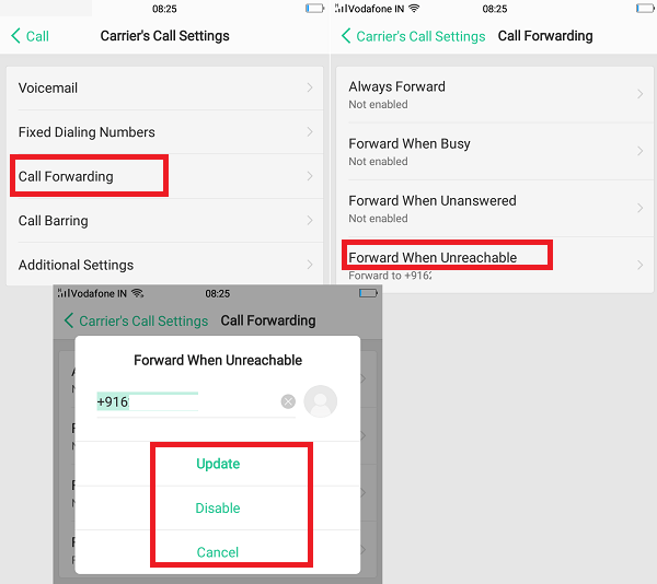 Activate call forwarding & waiting in Oppo Phones
