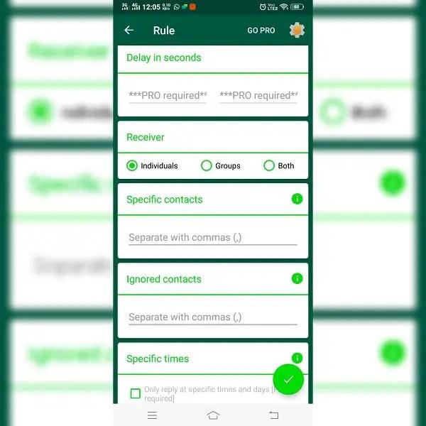 Whatsapp autoreply settings