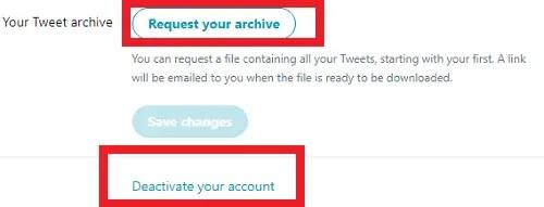 delete or deactivate Twitter account