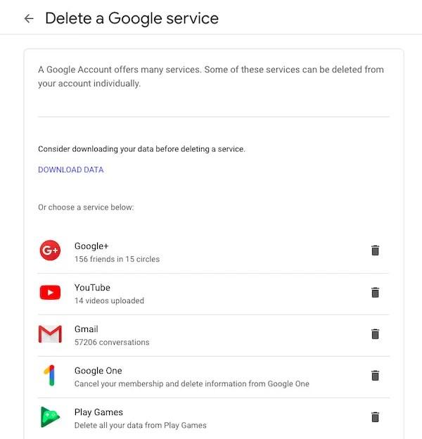Delete Individual Google Service