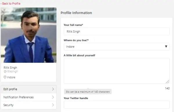 Edit Zomato Profile
