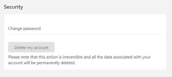 Delete account button on Zomato Profile
