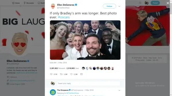 Ellen's Oscars 2014 group selfie tweet
