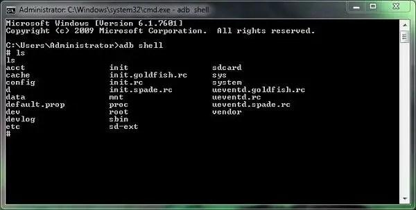 open adb shell in windows terminal