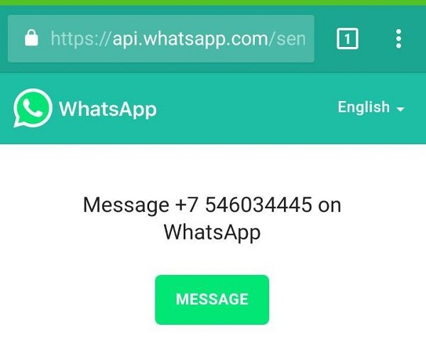 Send WhatsApp message without adding as a Contact in Android