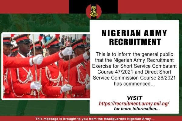 Nigerian Army recruitment 2020_2021 begins - How to apply