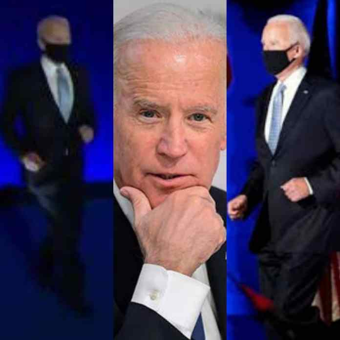 Iconic Moment US President-Elect Joe Biden Jogs Out Onto The Stage To Make His Victory Speech -