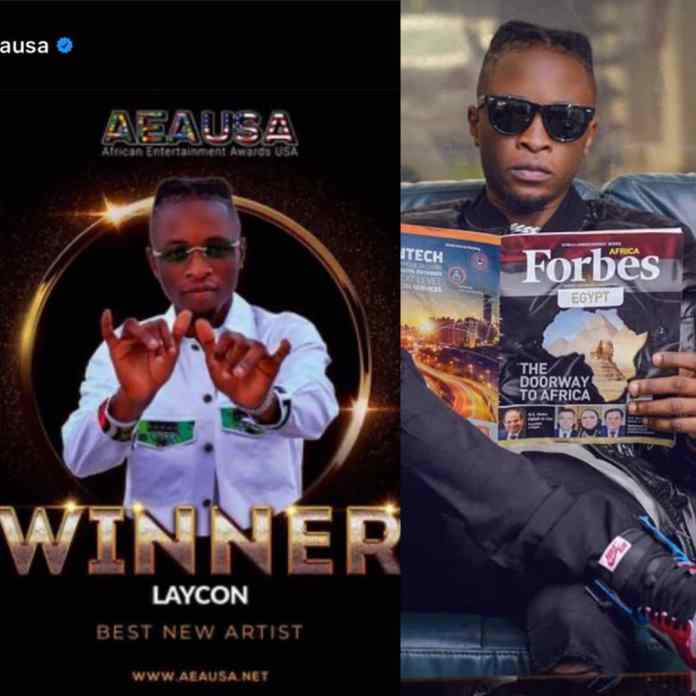 BREAKING: BBNaija Laycon Wins AEAUSA New Artist Of The Year - #AEAUSAAwards