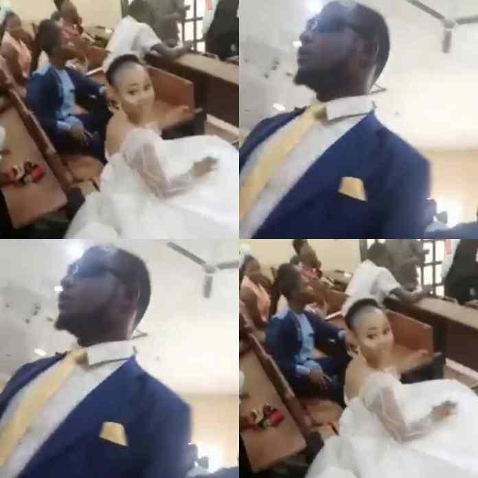 UniAbuja Agog As Groom Escorted His Bride To Exam Hall On Their Wedding Day [VIDEO]