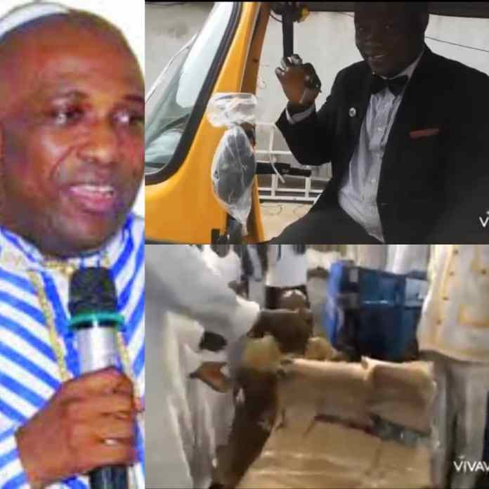 Excitement As Primate Ayodele Surprises Church Members With Tricycle And Hair Dryer [VIDEO]