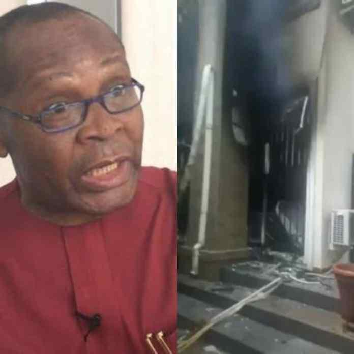 BREAKING: Moment IPOB Militants Allegedly Burnt Down Joe Igbokwe's House [VIDEO/PHOTOS]
