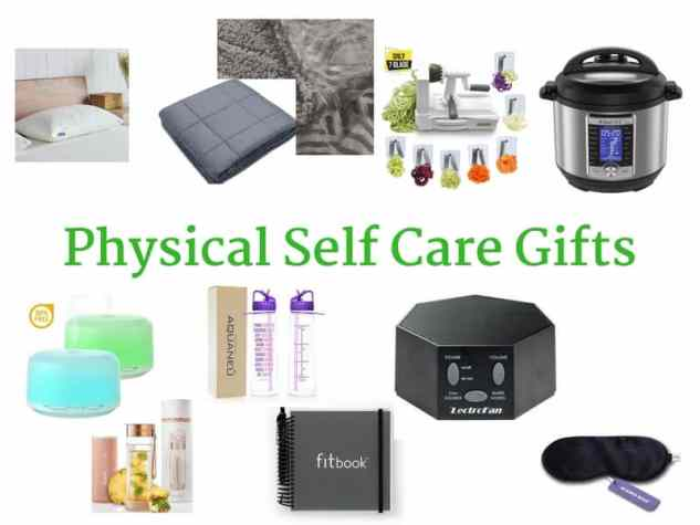 Physical Self-Care Gift Ideas including gifts for improving sleeping, eating, breathing and hydration