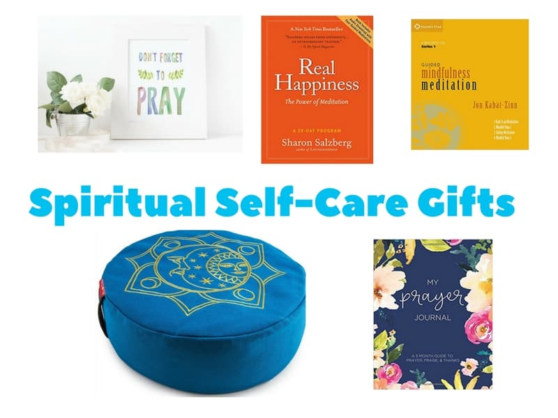 Spiritual Self-Care Gift Ideas including prayer artwork, prayer journal, meditation cushion and meditation books and audio guides.