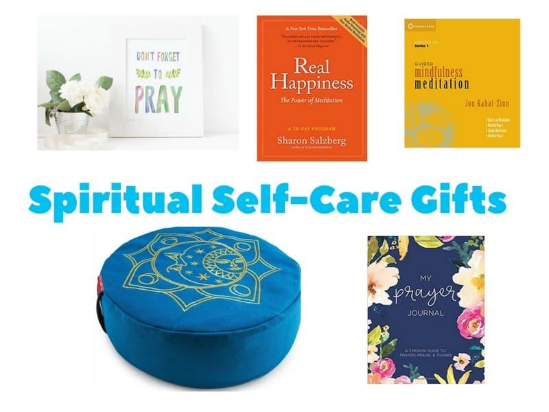 Spiritual Self-Care Gift Ideas including prayer artwork, prayer journal, meditation cushion and meditation books and audio guides.