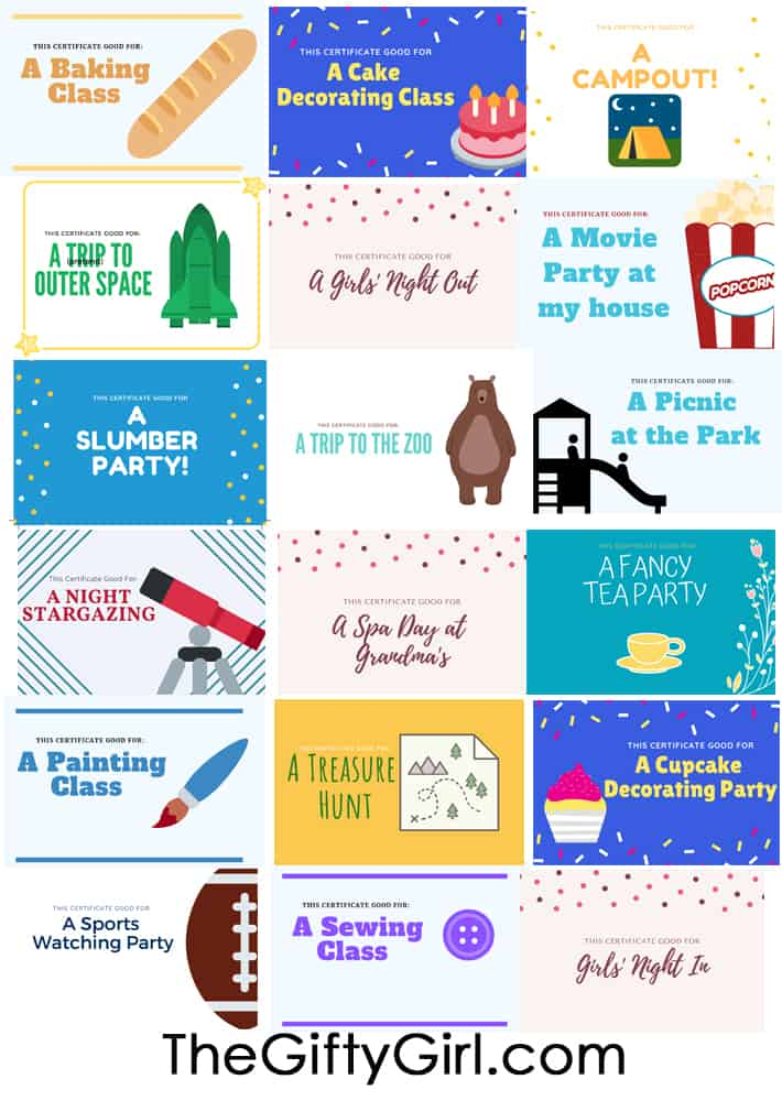Experience Gifts for Kids Free Printable Gift Certificates