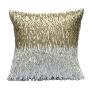 Lisso Gold Beaded Cushion