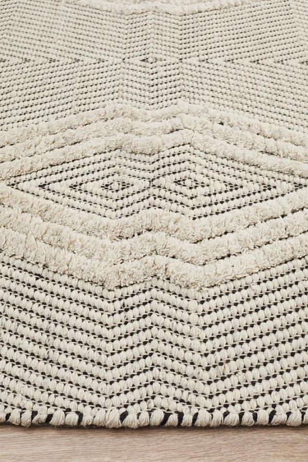 Miller Bone Geometric Textured Rug