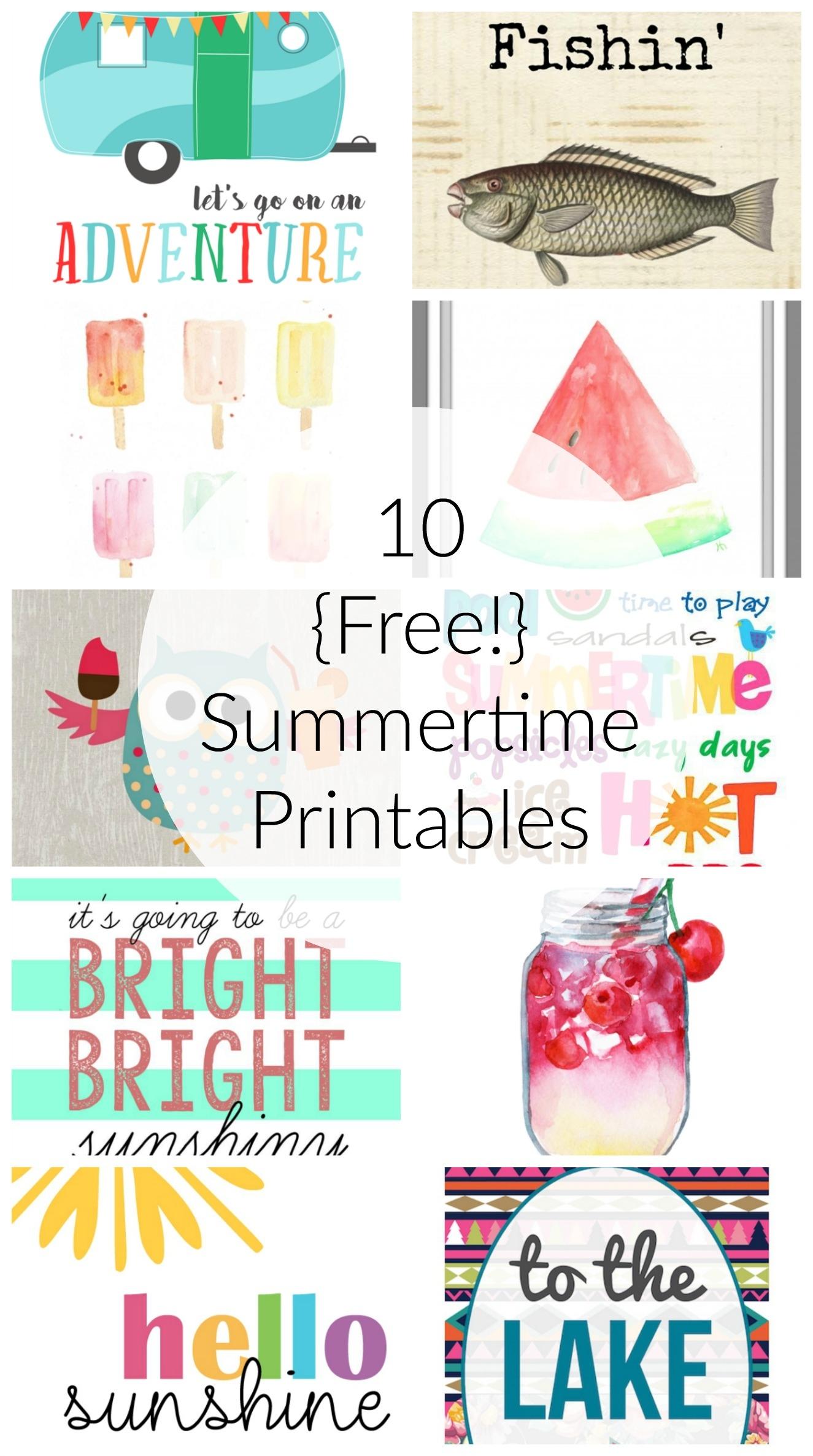 10 Free Summer Printables