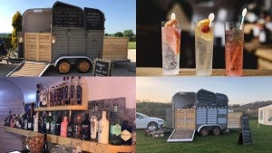 Collage of images - drinks, and the gin kitchen trailer