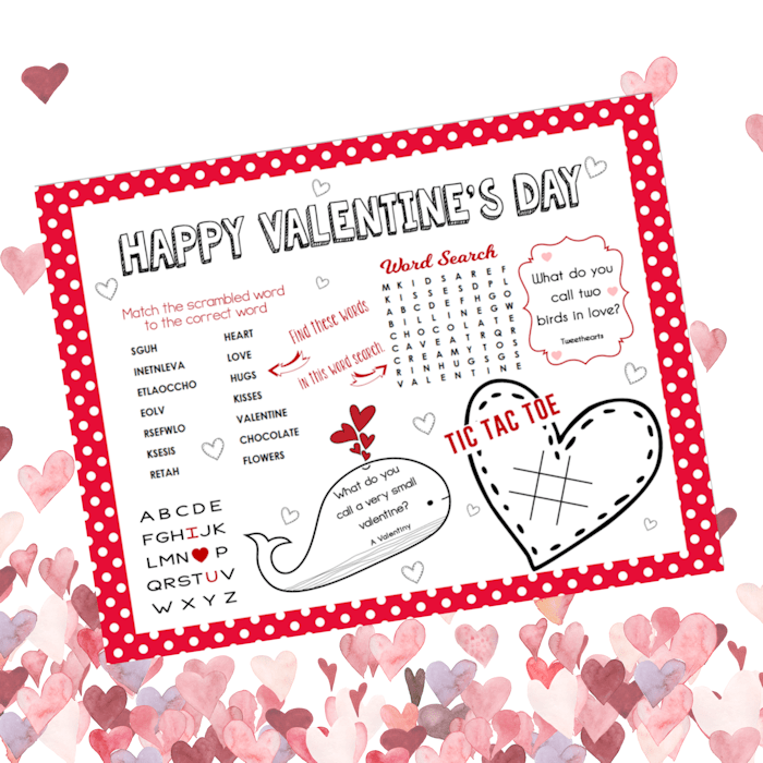Free Printable Valentines Day Activity Sheet The Girl