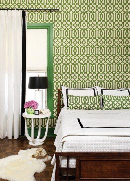 Kate Spade Kelly Wearstler Imperial Trellis Wallpaper Green White Bedroom