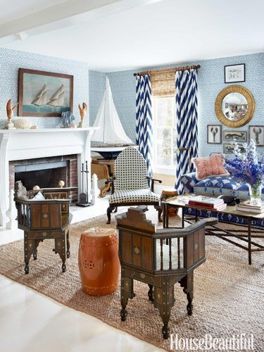 The living room\u0027s vivid fabrics all by Knott\u0027s firm Quadrille pack a playful punch while Syrian inlaid chairs and Chinese ceramic stools evoke the ... & A Patriotic Summer House in Maine - The Glam Pad