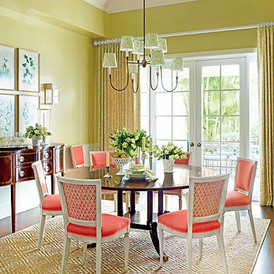 DECORATING RESOLUTION NO 4 GIVE YOUR DINING ROOM A SPLASH OF BOLD COLOR The Lettuce Green Lacquered Walls Are Kicked Up Notch With Bright Coral