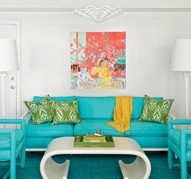 Best In the guest bedroom us sitting area sculptural white furnishings accent the bold aqua seating pieces and rug