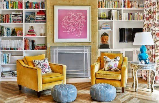 Living Room Mustard Velvet Lounge Chairs Blue Leather Poufs Custom Joinery Bookshelves Light Washed Oak Floorboards Aqua Ceramic Table Lamp Pink Print Diane  ...