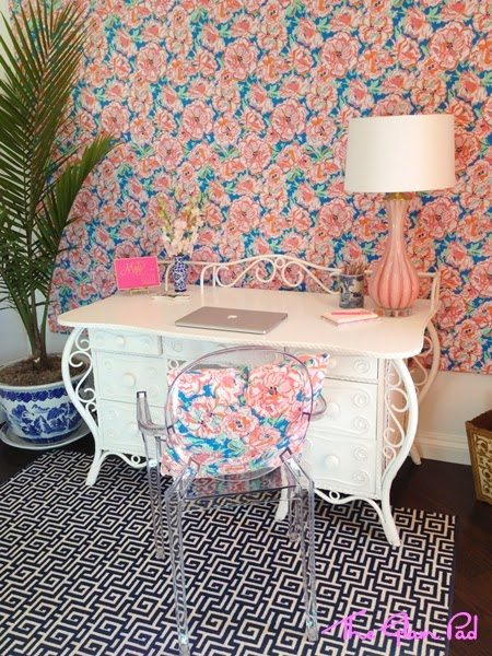 Attrayant Lilly Pulitzer Desk Lucky Charms Vintage Murano Lamp Pink Blue White