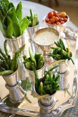 mint julep cups can be used as veggie holders