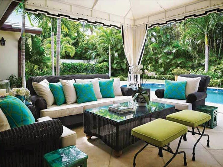 Ideal Near the pool sits a Greet key designed s vintage aluminum table and chairs setting which Hoeft refurbished with a glass top and Sunbrella cushion
