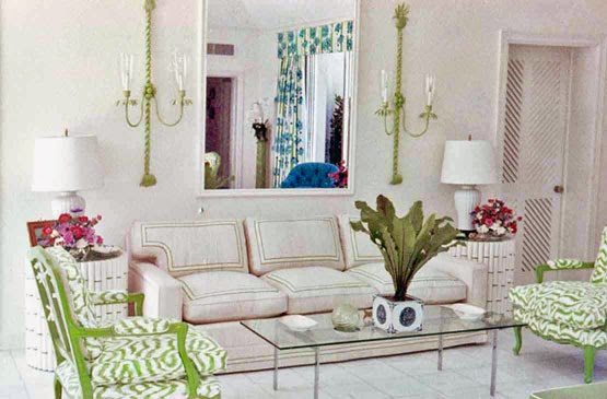 A Tailored White Sofa Piped In Lime Green Is Paired With Green Lacquered  Side Chairs Upholstered In A Zebra Inspired Print. Faux Bamboo Side Tables  And ...