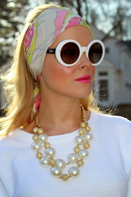 0969ef622a jackie-o-inspired-round-sunglasses -vintage-pucci-scarf-lilly-pulitzer-pearl-necklace