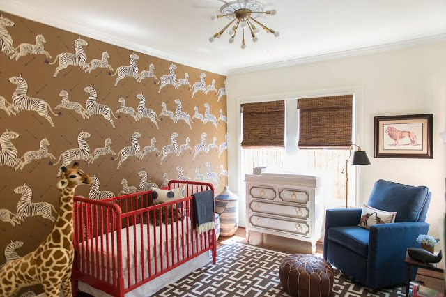 Popular In addition this nursery includes jungle safari elements a fabulous vintage inspired brass sputnik light fixture a Dorothy Draper inspired changing table