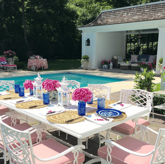 Stunning The outdoor furniture is a bination of vintage Woodard lounge chairs and vintage and new Brown Jordan The cushions are custom pink Sunbrella with