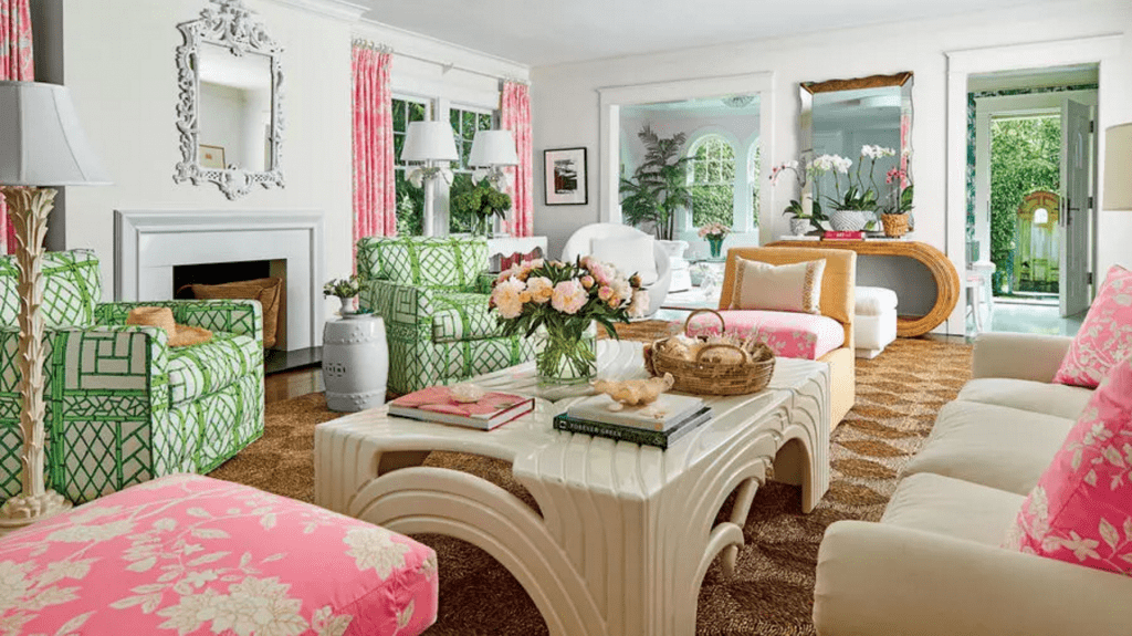 Palm Beach Decor, Lilly Pulitzer Style - The Glam Pad 1920s Living Room Furniture