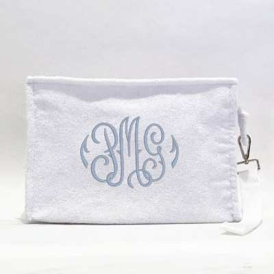 Monogrammed Terry Cosmetic Bag