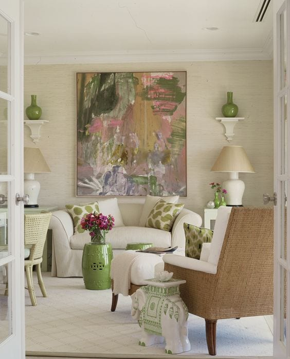 hamptons-living-room-pink-green-elephant-garden-stool - The ...