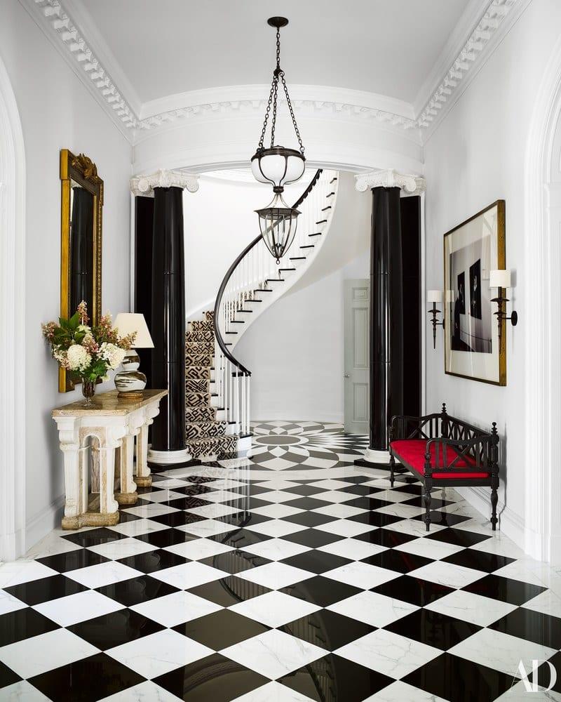 black white marble tile spiral
