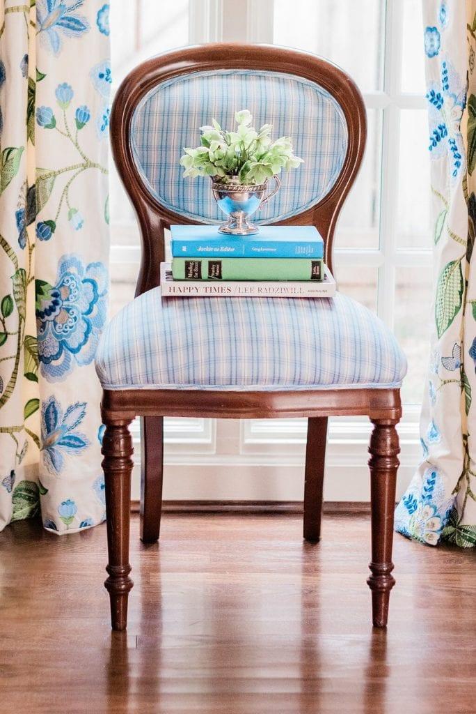 Blue White Gingham Chair Buffal Check Floral