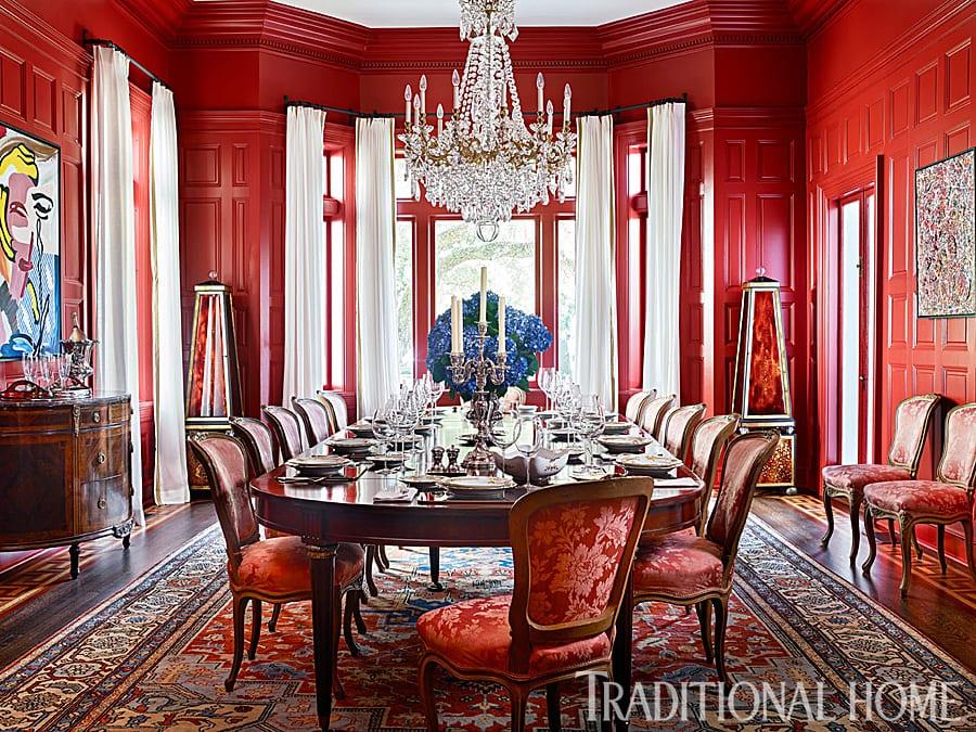 Red Dining Room Baccarat Crystal Chandelier Antiques Modern Art Damask Upholstery