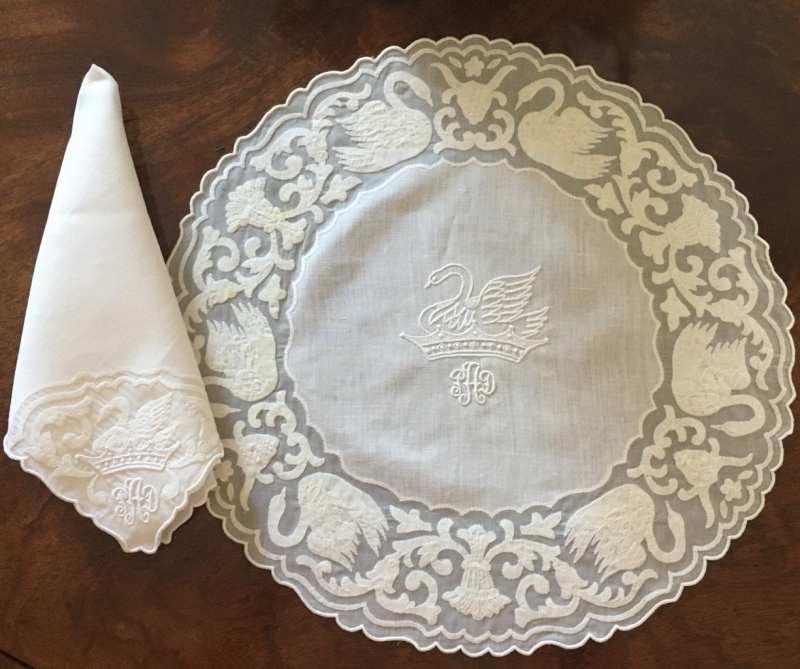 patricia-altschul-leron-linen-luzanne-otte-collection-placemats-napkins-embroidery-personal-crest-swans