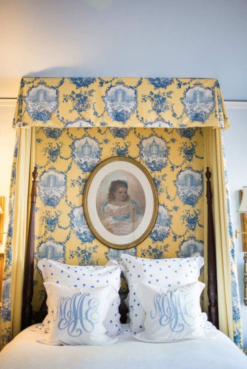 antique-canopy-tester-bed-blue-yellow-toile-monogram-monogrammed-pillows-porthault-couers-hearts