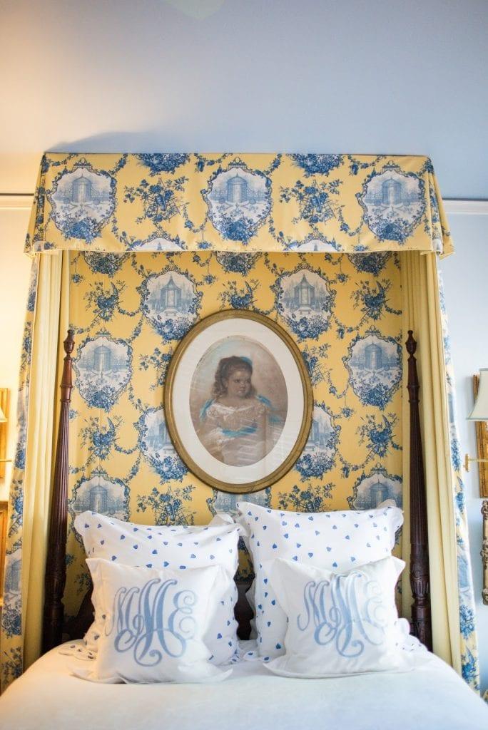 d porthault linens couers blue canopy tester bed monogram