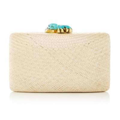 Straw Clutch with Turquoise Clasp
