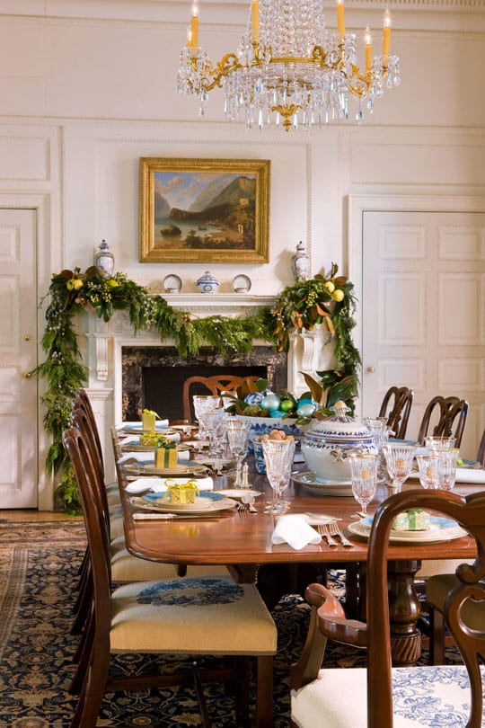 Blair House Traditional Home Dining Room Tablescape Crystal China Fireplace Mantel Decor Barry Dixon