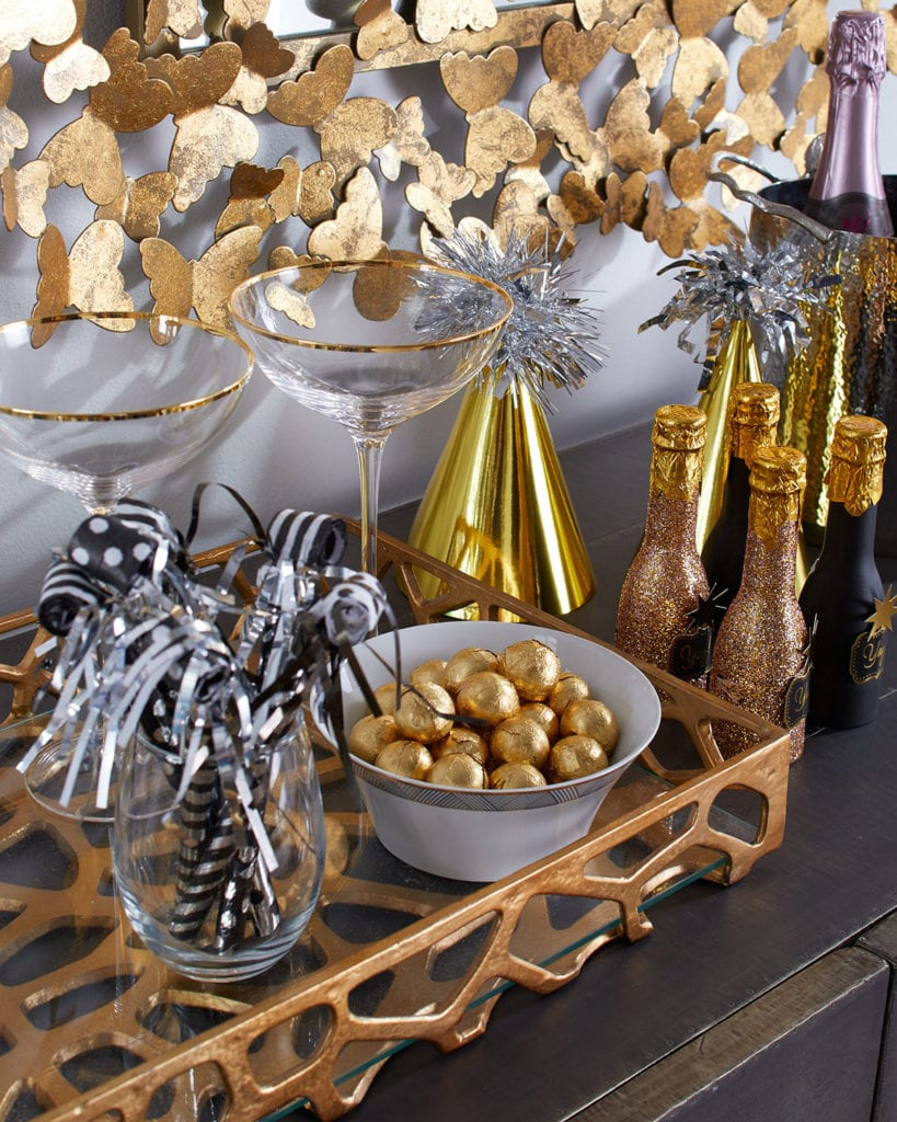 Gold Champagne Coupe Flutes Mini Champagne New Years Eve Bar Cart
