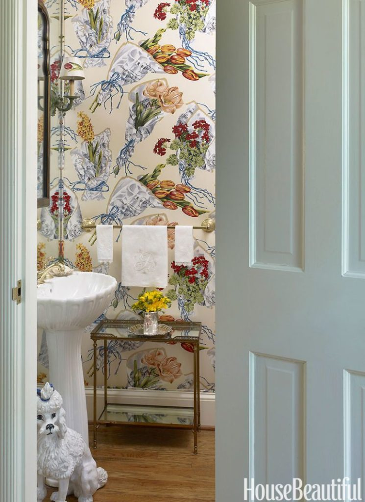 Poodle Powder Room Bathroom Miles Redd Floral Wallpaper