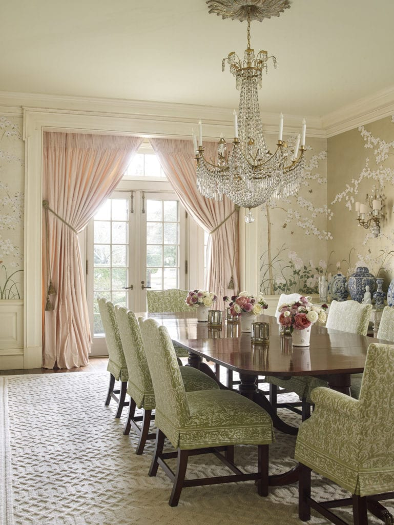 Ann Wolf Dining Room Hand Paintee Chinoiserie Wallpaper Gracie De